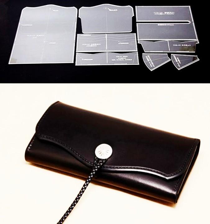 長財布 アクリル型 型紙 レザークラフト