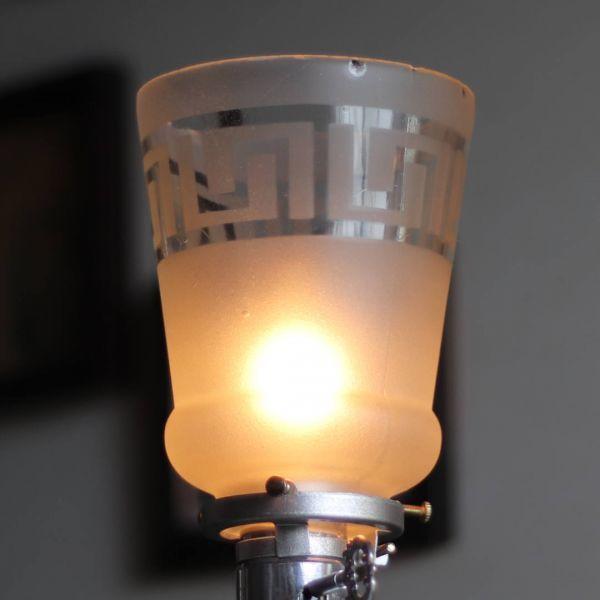 【薄緑】USAヴィンテージテーブルライト照明・雷文柄フロストガラスシェード|アンティーク卓上ランプ◇メアンドロスギリシャ雷文フロスト_ヴィンテージテーブルライト雷文卓上照明