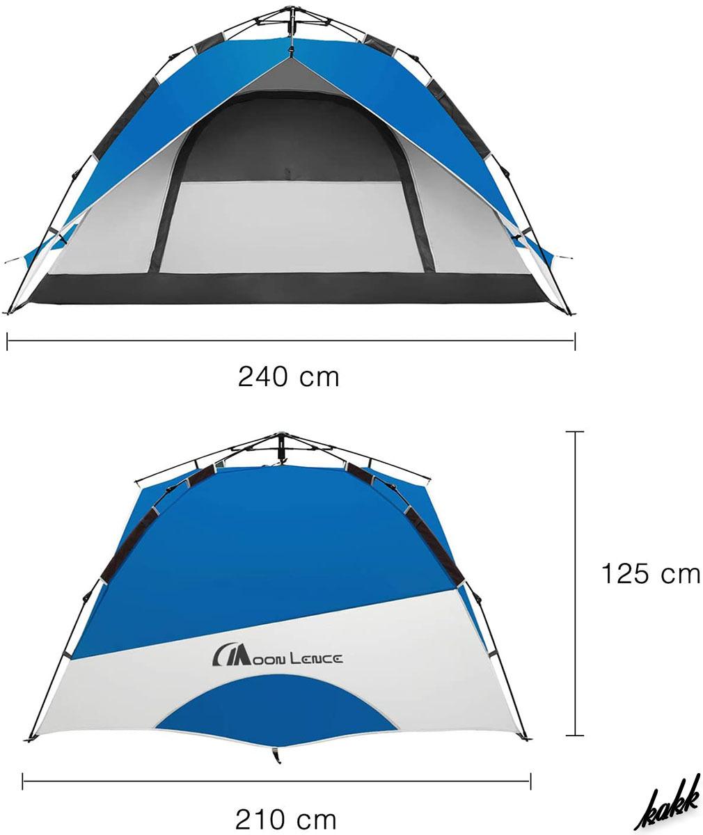 【誰でも簡単に設営できる】 ワンタッチテント 3-4人用 耐水圧2000mm 二重構造 キャンプ 軽量 コンパクト アウトドア レジャー ブルー