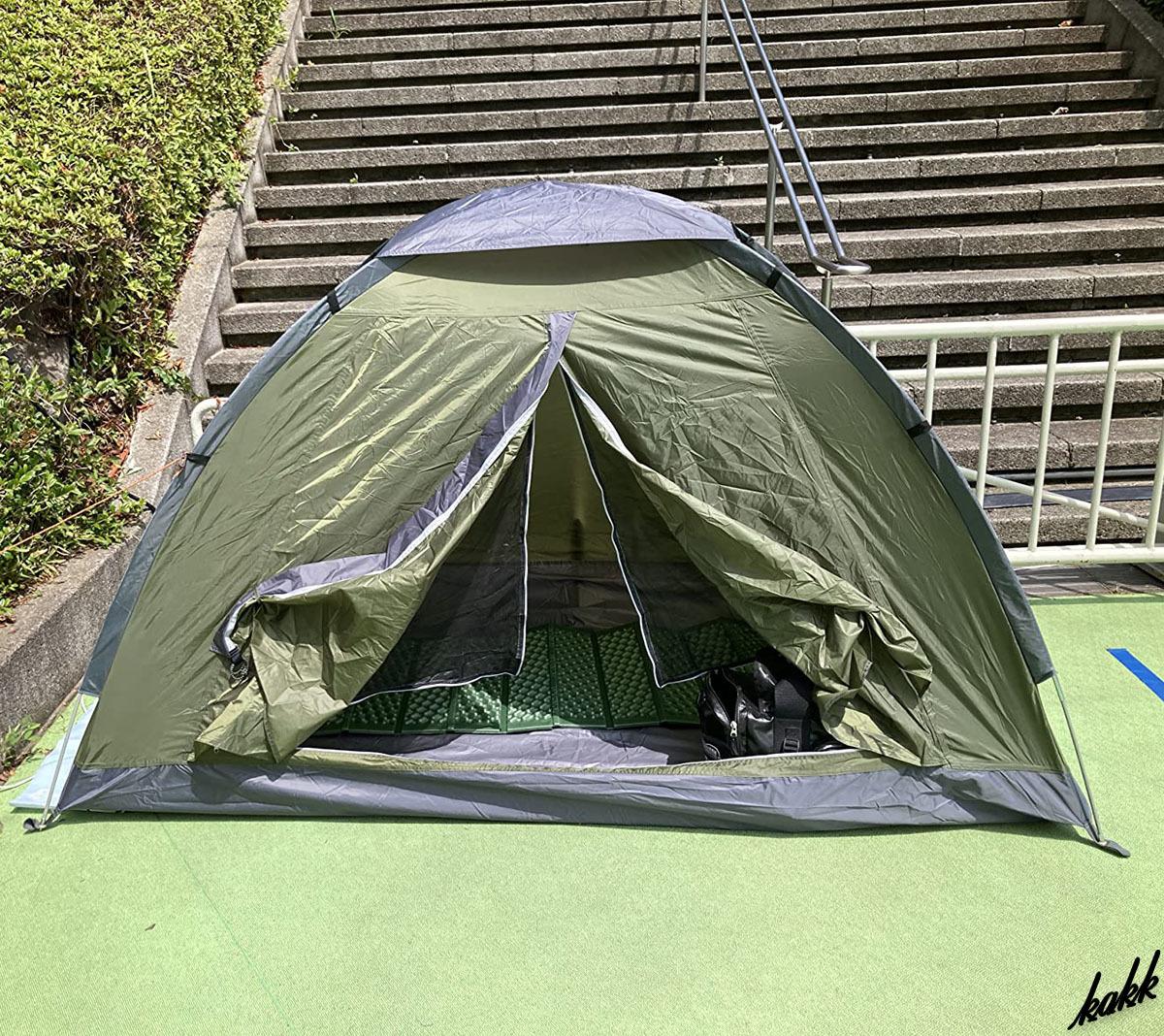 【超軽量コンパクト収納】 テント 耐水圧3000㎜ ソロキャンプ ツーリングキャンプ 通気性 アウトドア レジャー キャンプ グリーン
