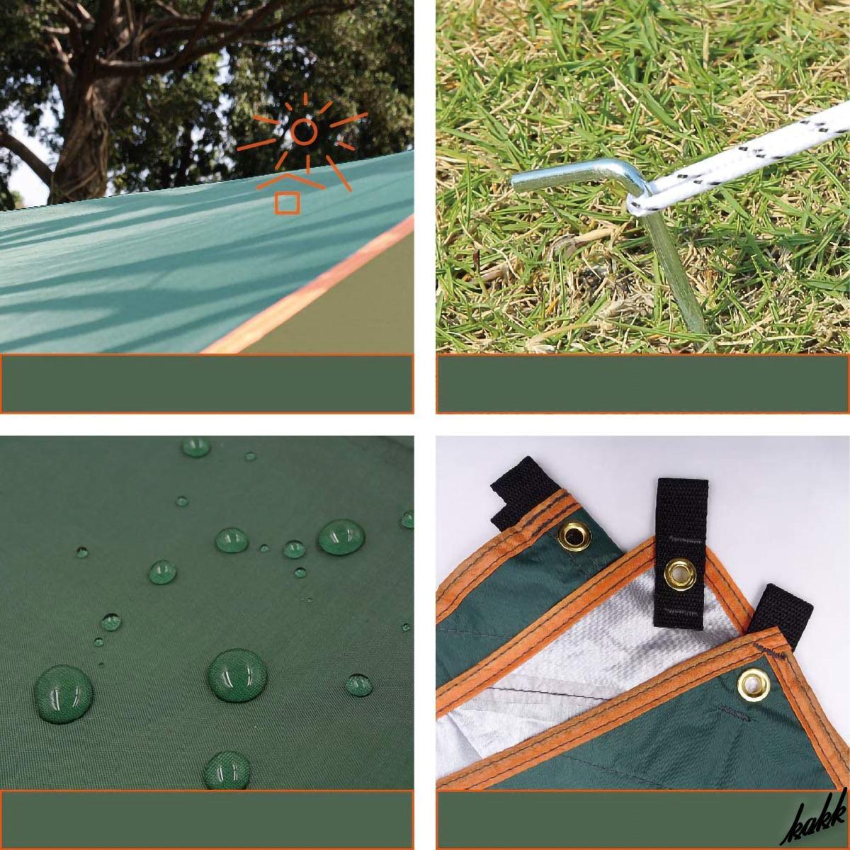 【ツーリング時にも携帯しやすい】 スクエアタープ 300×400cm 3-6人 防水 軽量 遮熱 キャンプ BBQ アウトドア ツーリング グリーン