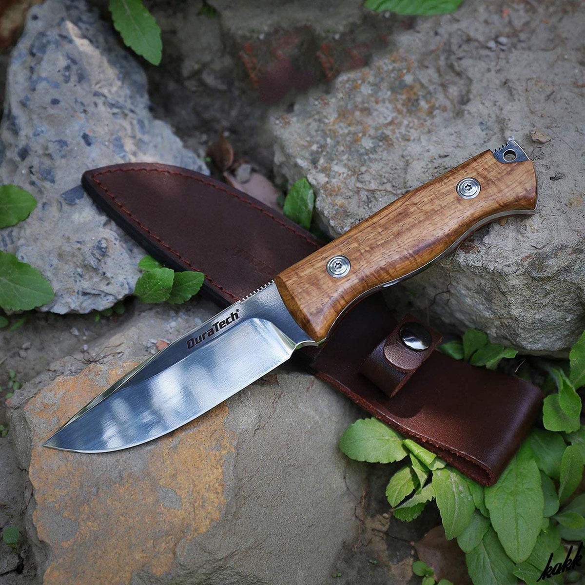 【鏡面仕上げシースナイフ】 狩猟刀 フルタング構造 ウッドグリップ ステンレススチール ウッドハンドル キャンプ サバイバル