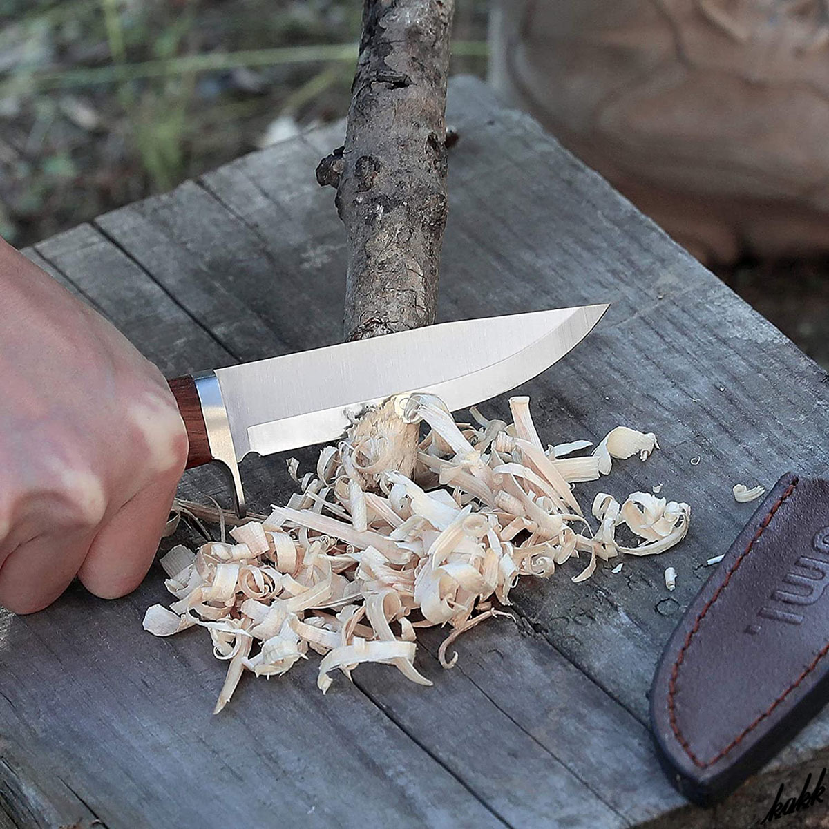 【天然ウッドハンドルが手に馴染む】 シースナイフ ステンレス鋼 ドロップポイント アウトドア包丁 ケース付き キャンプ サバイバル