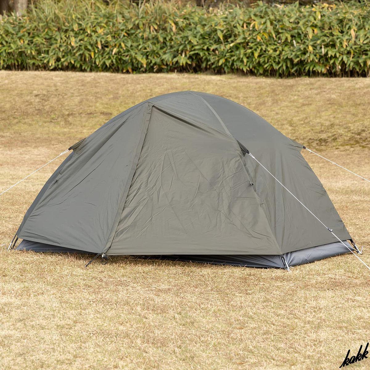 【ツーリングテント】 ドーム型 軽量 コンパクト 前室あり 防水 アウトドア レジャー キャンプ ツーリング 登山 カーキ