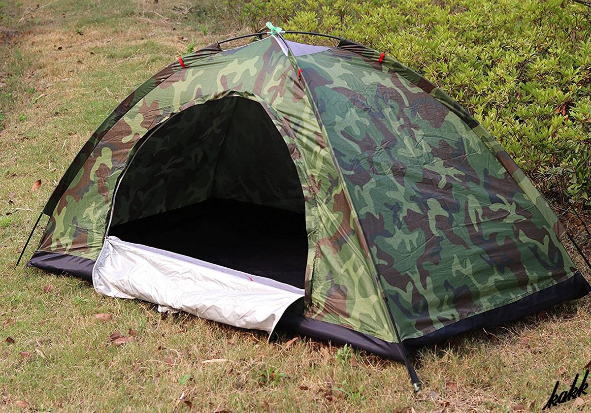 【ツーリングテントに最適】 迷彩柄 超軽量 920g 1人用 メッシュ素材 通気性 UVカット 簡単設営 アウトドア レジャー キャンプ 迷彩