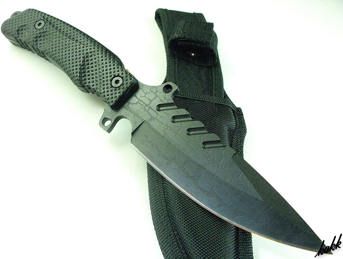 【フルメタルサバイバルナイフ】 極厚 フルタング メタルハンドル 狩猟刀 特殊ディンプル加工 ステンレス鋼 キャンプ サバイバル