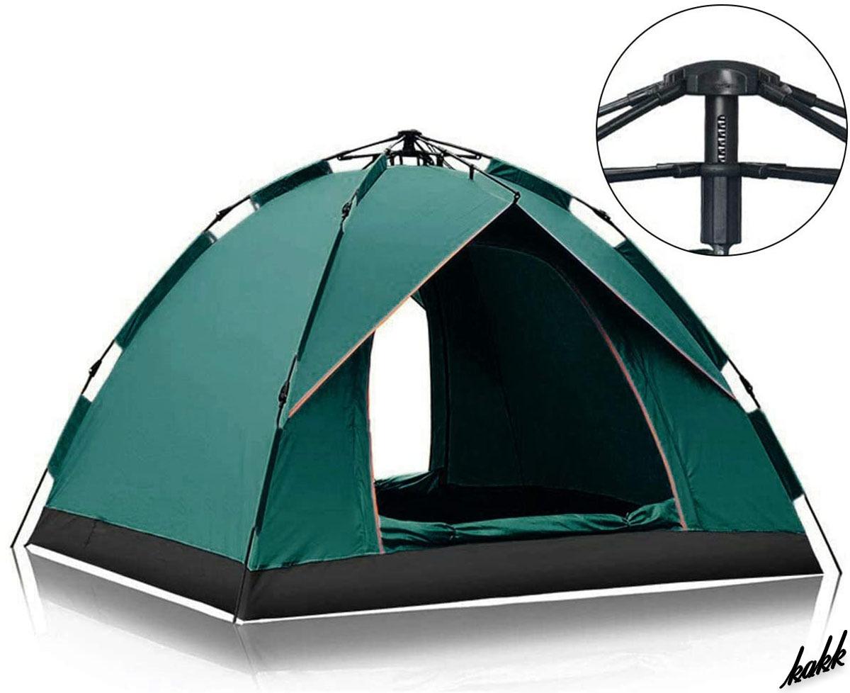 【ヘキサゴン型ワンタッチテント】 1-2人用 軽量 コンパクト 設営簡単 UVカット加工 耐水圧2000mm キャンプ ツーリング ダークグリーン