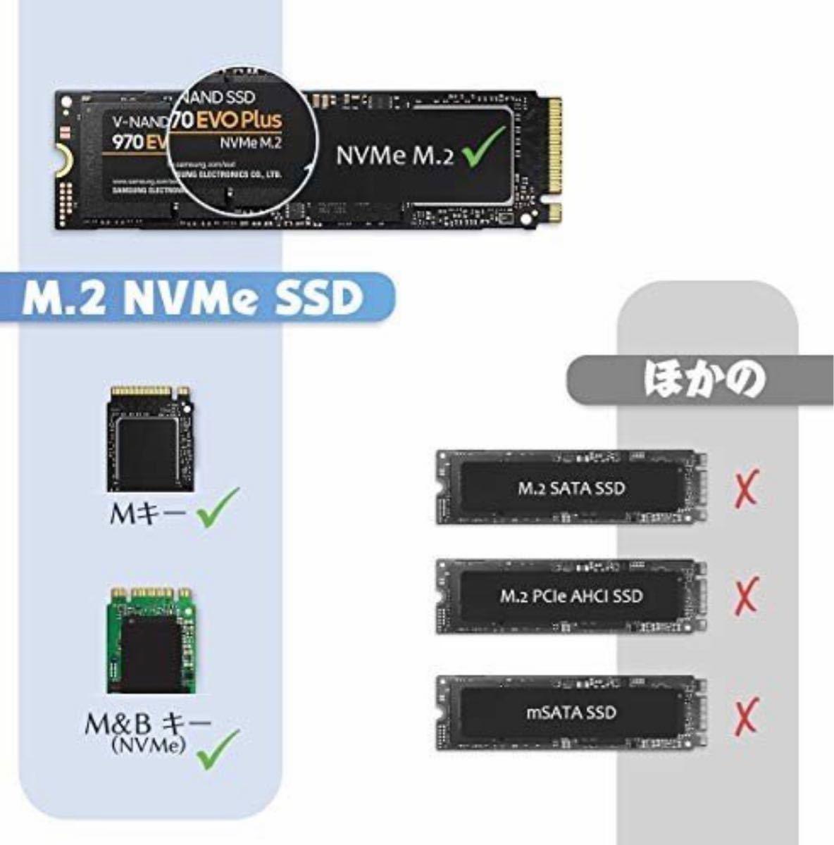 USB C 3.1 SSD ケース M.2 NVMe 外付けSSD 変換アダプタ UASPサポート