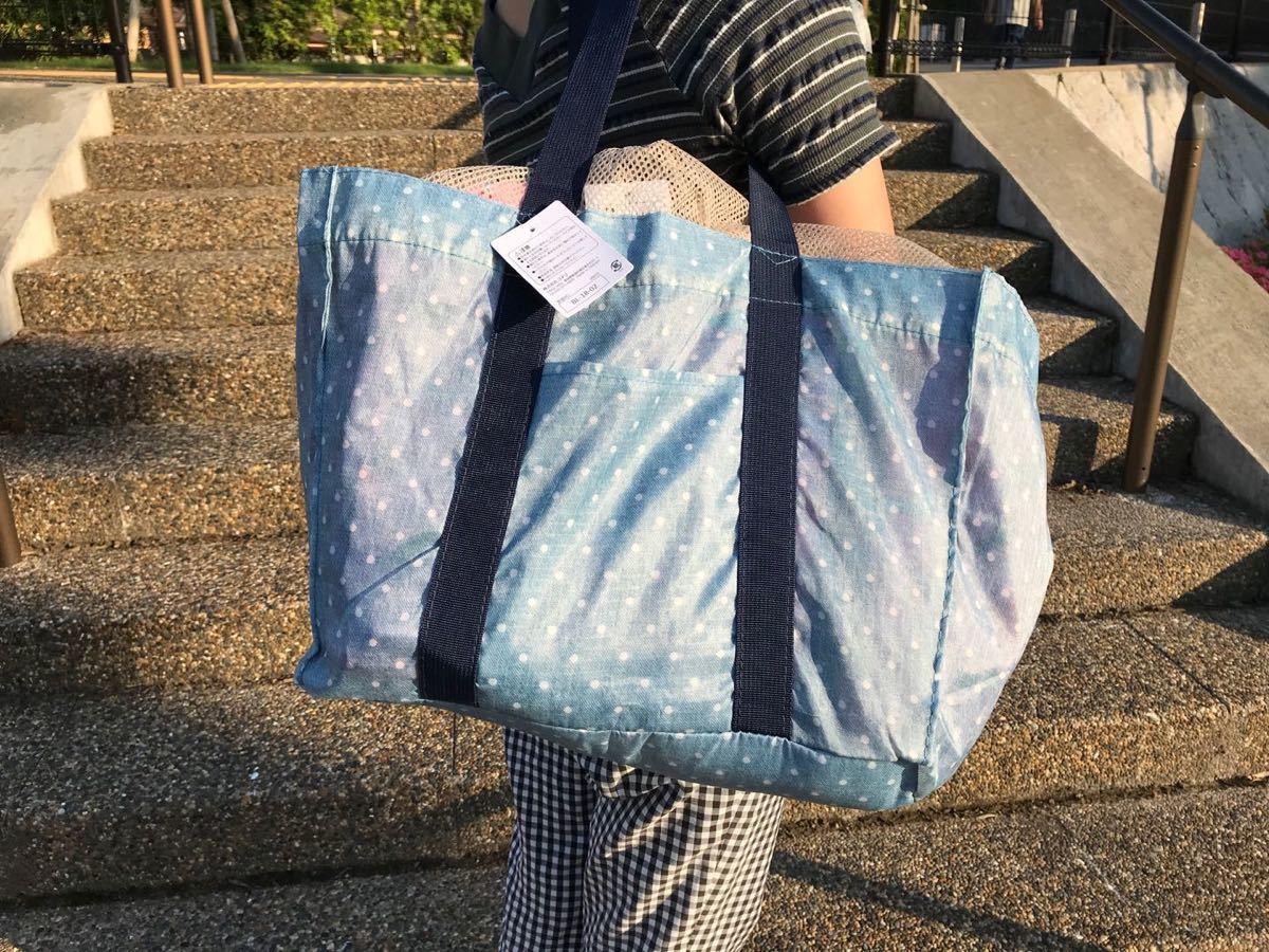 レジカゴバッグ 折りたたみ エコバッグ 大容量 防水素材水玉柄限定