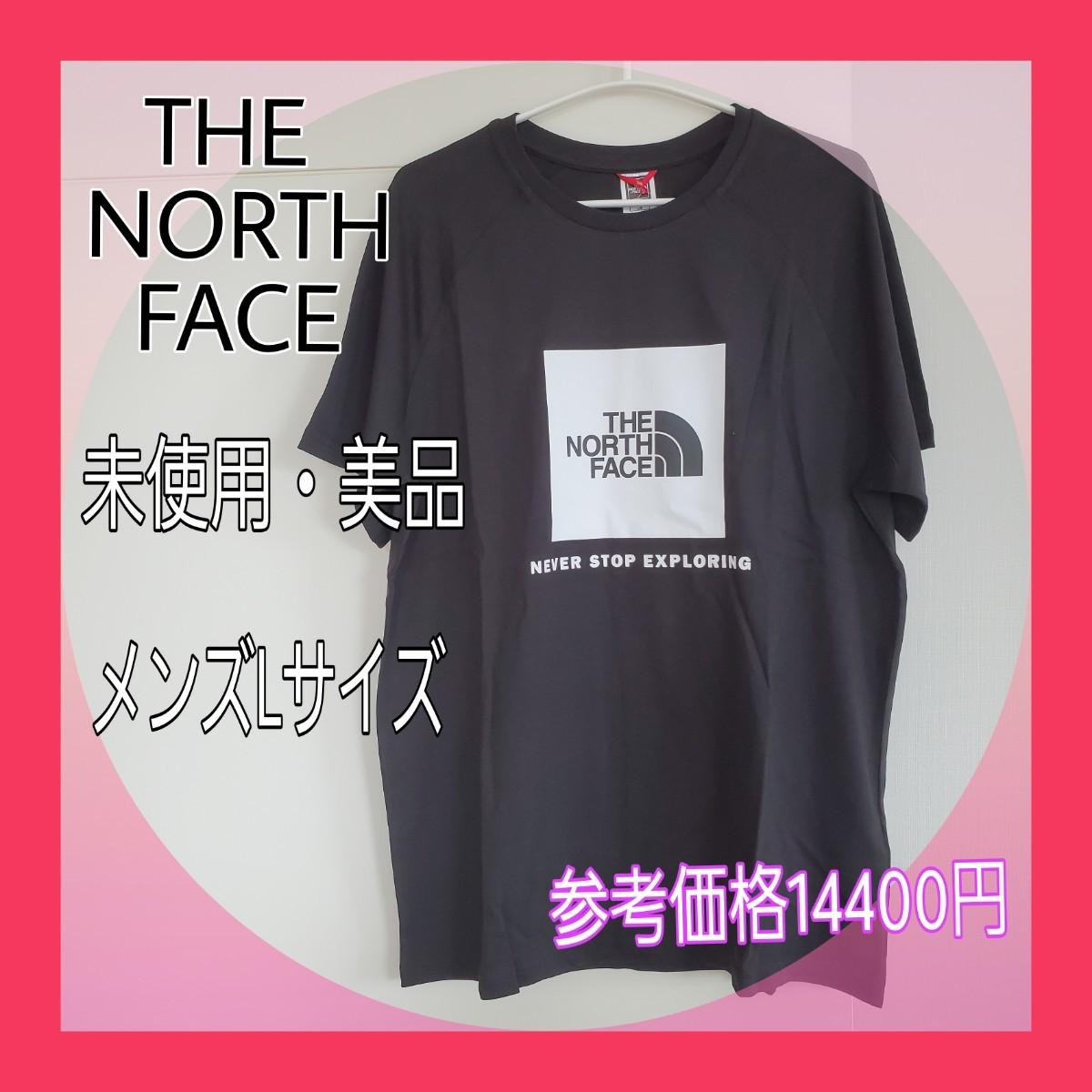 ザノースフェイススクエアロゴTシャツ☆メンズLサイズTHE NORTH FACE 半袖Tシャツ BLACK Logo