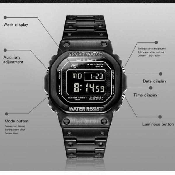 注目★三田スポーツ腕時計 メンズデジタル腕時計 防水カウントダウン ステンレス鋼 ファッション腕時計 男性 時計レロジオ masculino 2020_画像6