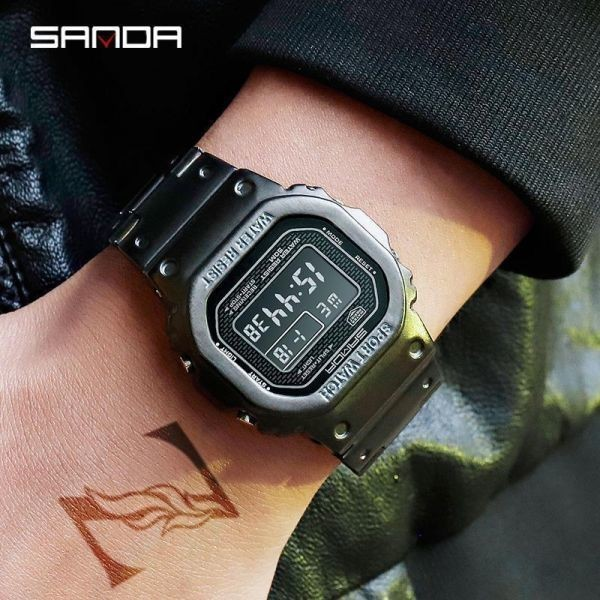 注目★三田スポーツ腕時計 メンズデジタル腕時計 防水カウントダウン ステンレス鋼 ファッション腕時計 男性 時計レロジオ masculino 2020_画像3