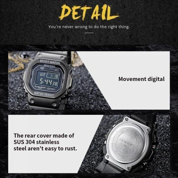 注目★三田スポーツ腕時計 メンズデジタル腕時計 防水カウントダウン ステンレス鋼 ファッション腕時計 男性 時計レロジオ masculino 2020_画像5