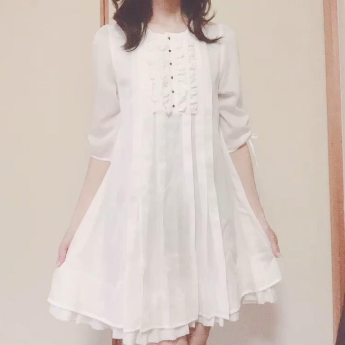 オリーブデオリーブ フリル プリーツワンピース 韓国ファッション 五分袖