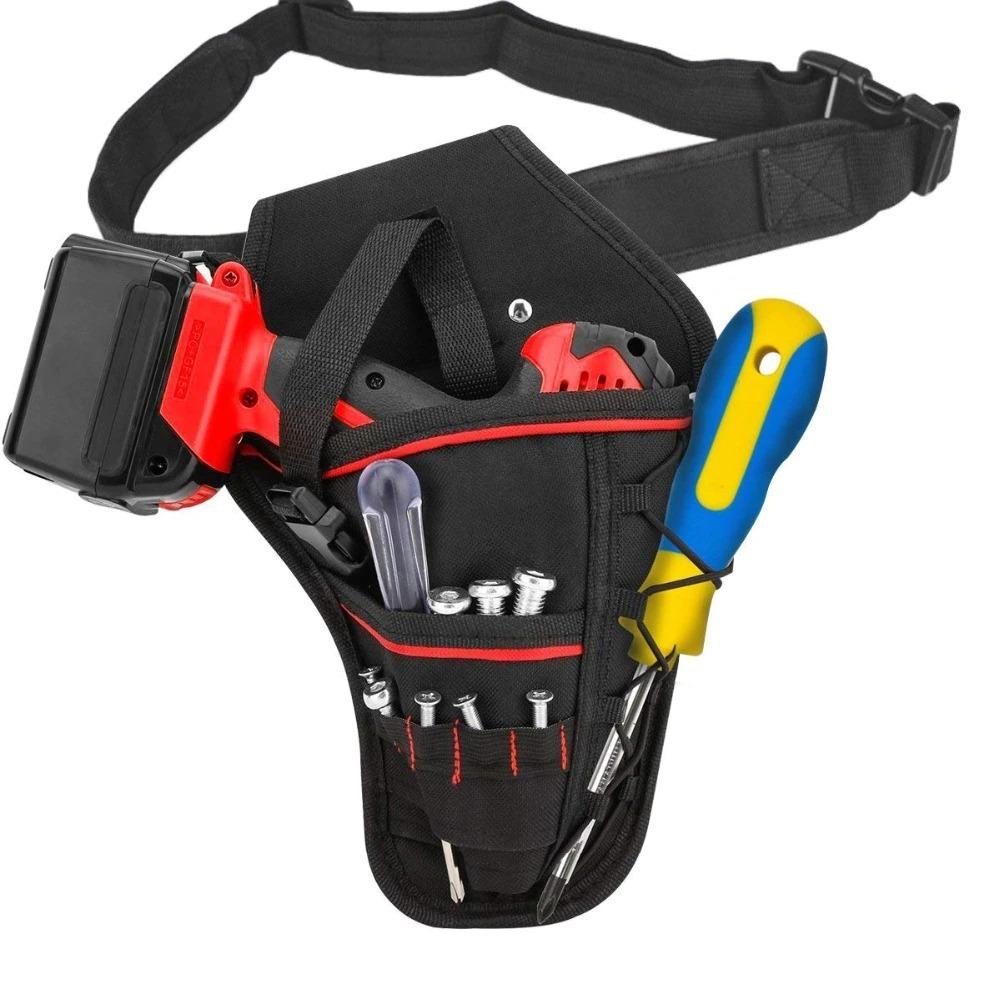 新品 送料無料 電動工具入れ 腰袋 ツールババッグ 工具収納バッグ 工具差し ドライバー入れ 多機能ポーチ ドリル 大工 DIY 黒 赤_画像4