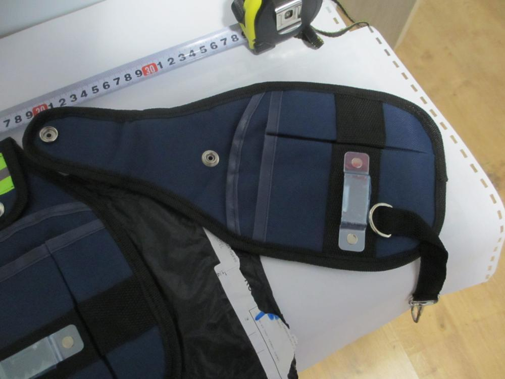 新品 工具入れ ウエストツールバッグ 工具差し 腰袋 工具収納 多機能 道具袋 オックスフォード 防水 サイズ調整 DIY 黒 青_画像9