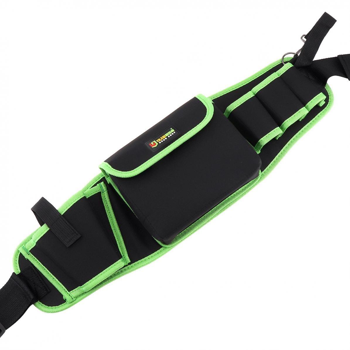 新品 ウエストツールバッグ 工具入れ 工具差し 腰袋 工具収納 多機能 道具袋 オックスフォード 防水 サイズ調整 4穴1ポケット DIY 黒 緑_画像4
