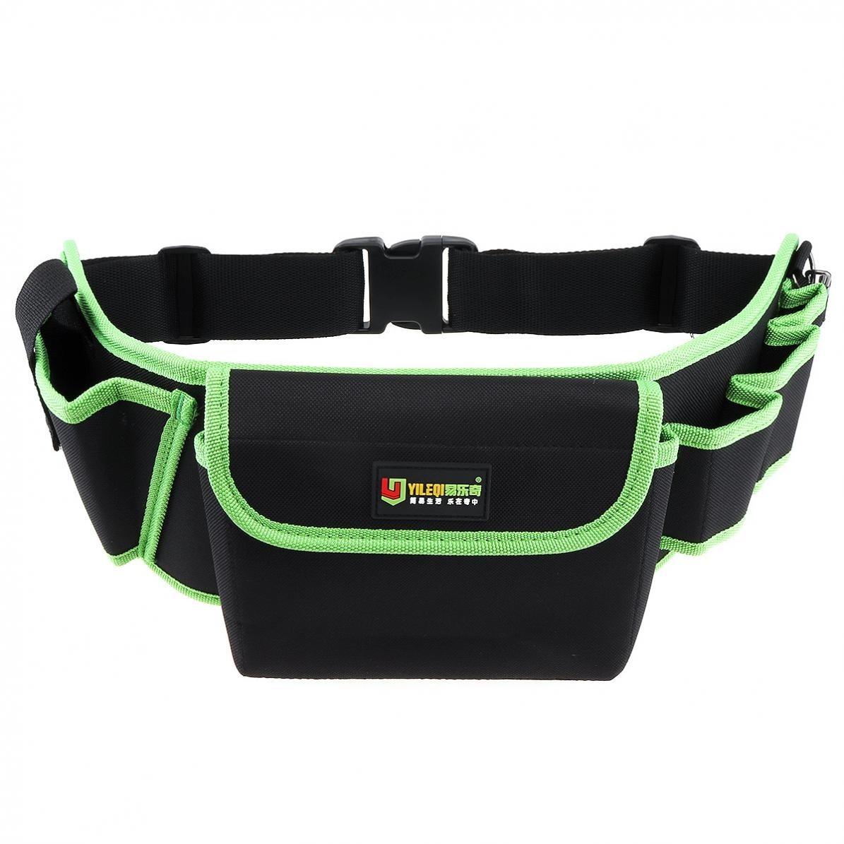 新品 ウエストツールバッグ 工具入れ 工具差し 腰袋 工具収納 多機能 道具袋 オックスフォード 防水 サイズ調整 4穴1ポケット DIY 黒 緑_画像3