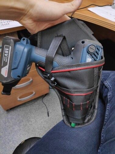 新品 送料無料 電動工具入れ 腰袋 ツールババッグ 工具収納バッグ 工具差し ドライバー入れ 多機能ポーチ ドリル 大工 DIY 黒 赤_画像3