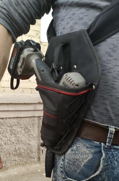 新品 送料無料 電動工具入れ 腰袋 ツールババッグ 工具収納バッグ 工具差し ドライバー入れ 多機能ポーチ ドリル 大工 DIY 黒 赤_画像1