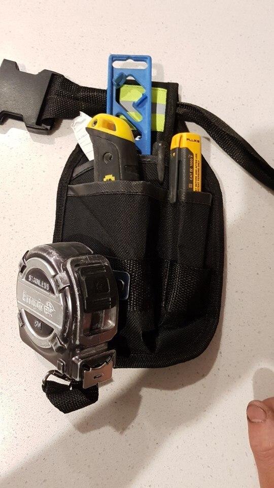 新品 工具入れ ウエストツールバッグ 工具差し 腰袋 工具収納 多機能 道具袋 オックスフォード 防水 サイズ調整 DIY 黒 青_画像7