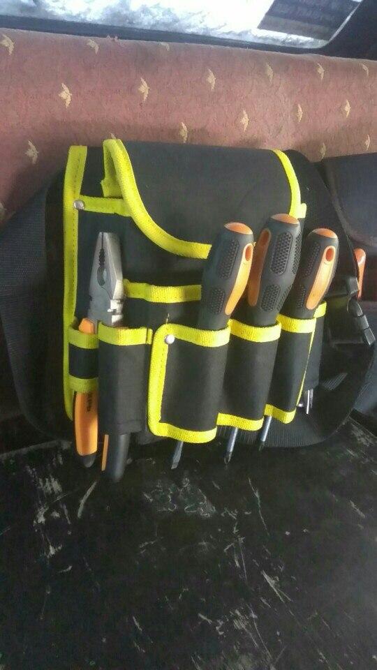 新品 送料無料 工具入れ ウエストツールバッグ 工具差し 腰袋 工具収納 多機能 道具袋 オックスフォード 防水 サイズ調整 DIY 黒黄色迷彩_画像8