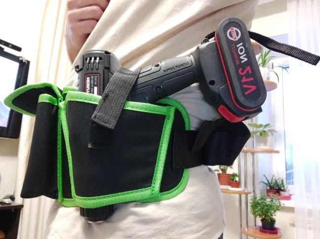 新品 ウエストツールバッグ 工具入れ 工具差し 腰袋 工具収納 多機能 道具袋 オックスフォード 防水 サイズ調整 4穴1ポケット DIY 黒 緑_画像9