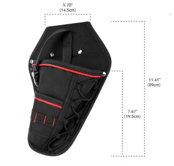 新品 送料無料 電動工具入れ 腰袋 ツールババッグ 工具収納バッグ 工具差し ドライバー入れ 多機能ポーチ ドリル 大工 DIY 黒 赤_画像10