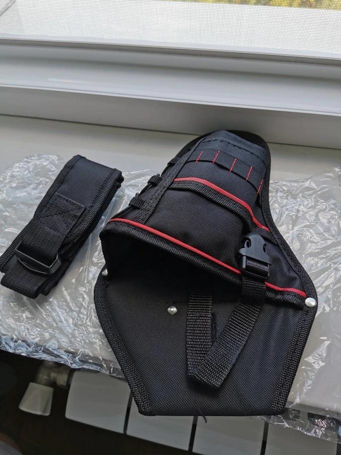 新品 送料無料 電動工具入れ 腰袋 ツールババッグ 工具収納バッグ 工具差し ドライバー入れ 多機能ポーチ ドリル 大工 DIY 黒 赤_画像9