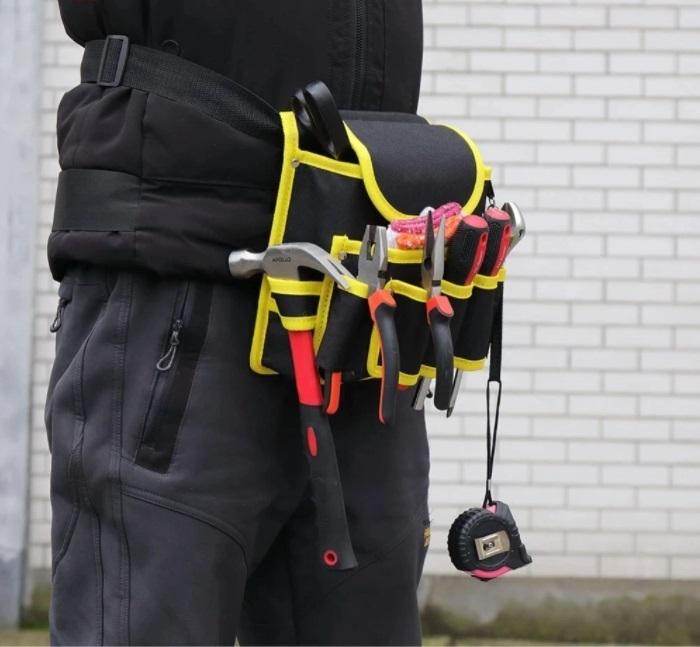 新品 送料無料 工具入れ ウエストツールバッグ 工具差し 腰袋 工具収納 多機能 道具袋 オックスフォード 防水 サイズ調整 DIY 黒黄色迷彩_画像1