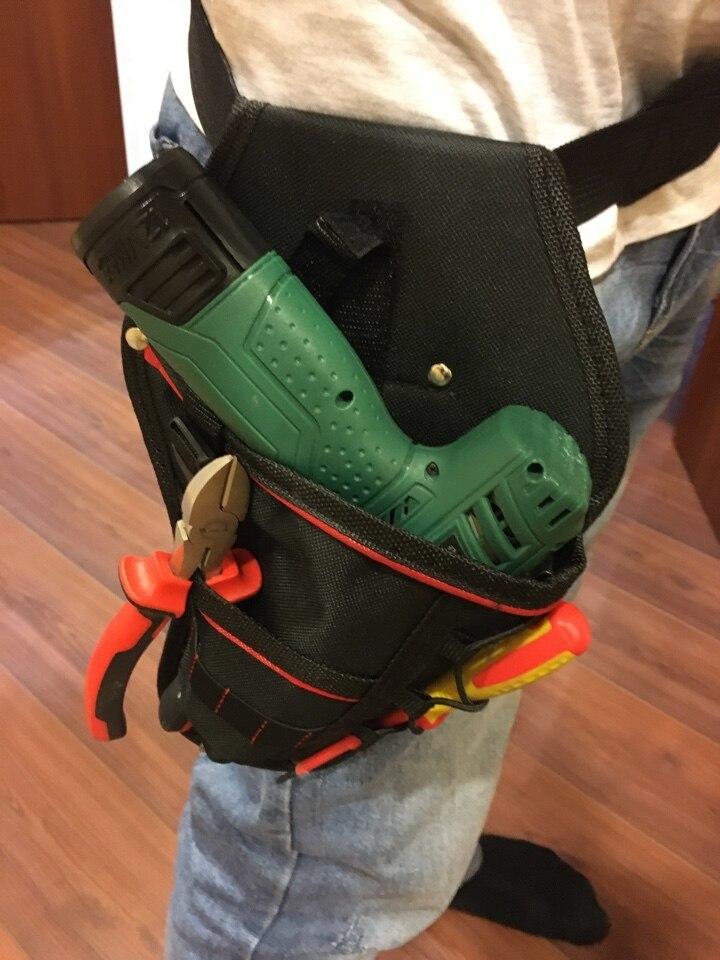 新品 送料無料 電動工具入れ 腰袋 ツールババッグ 工具収納バッグ 工具差し ドライバー入れ 多機能ポーチ ドリル 大工 DIY 黒 赤_画像2