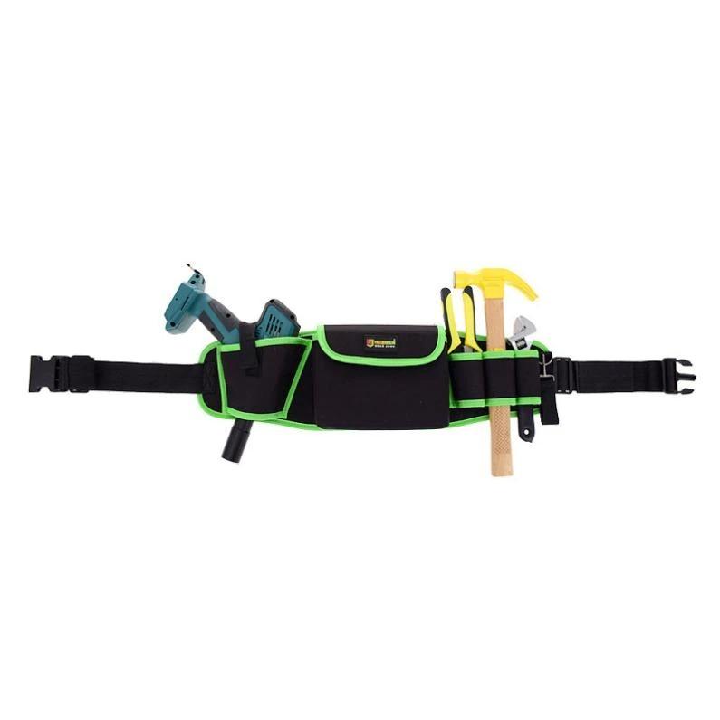 新品 ウエストツールバッグ 工具入れ 工具差し 腰袋 工具収納 多機能 道具袋 オックスフォード 防水 サイズ調整 4穴1ポケット DIY 黒 緑_画像7