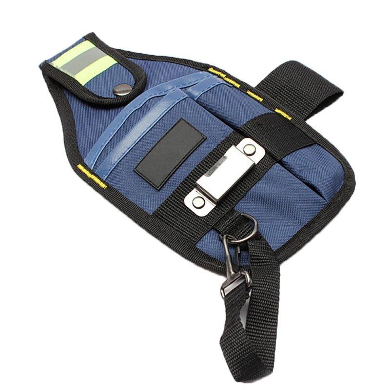新品 工具入れ ウエストツールバッグ 工具差し 腰袋 工具収納 多機能 道具袋 オックスフォード 防水 サイズ調整 DIY 黒 青_画像3