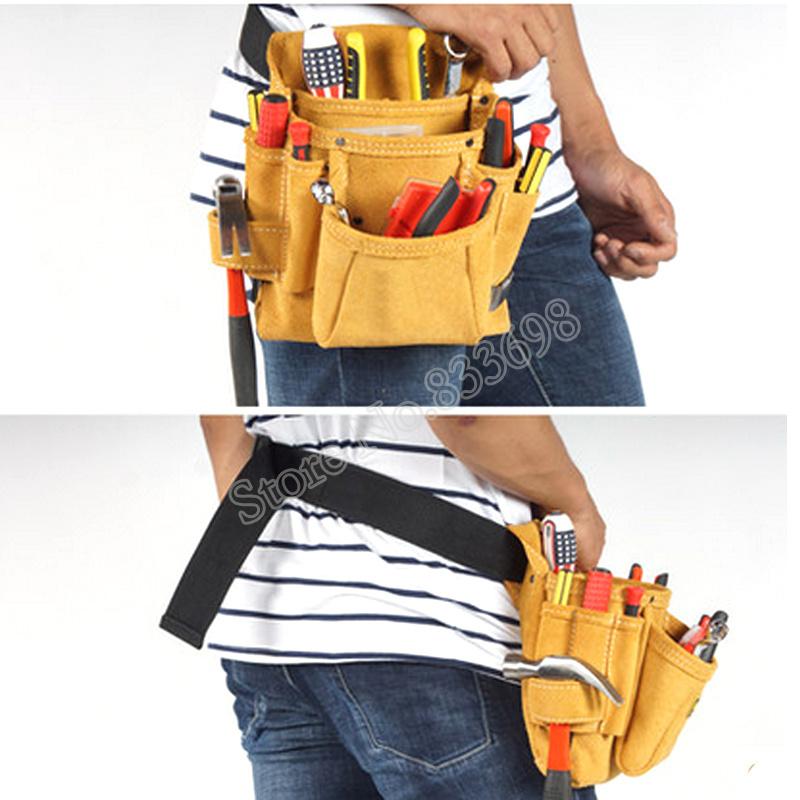 新品 送料無料 ツールウエストバッグ 工具収納 工具入れ 腰袋 工具差し 多機能 ツールポーチ ワークポケット 調節可能ベルト DIY 黄色_画像1