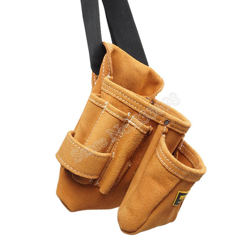 新品 送料無料 ツールウエストバッグ 工具収納 工具入れ 腰袋 工具差し 多機能 ツールポーチ ワークポケット 調節可能ベルト DIY 黄色_画像3