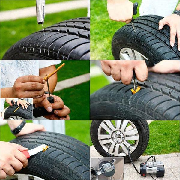 チューブレス タイヤ パンク修理キット 車載工具 パンク修理 自動車 バイク 緊急用 3回分 送料無料_画像2