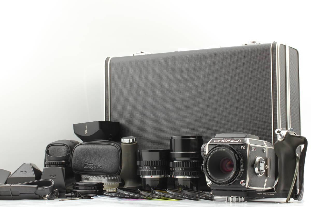 【良品/アルミケース付】ゼンザ ブロニカ Zenza Bronica EC-TL 75mm 50mm 200mm Lens+グリップ+ファインダー 中判カメラ #1267