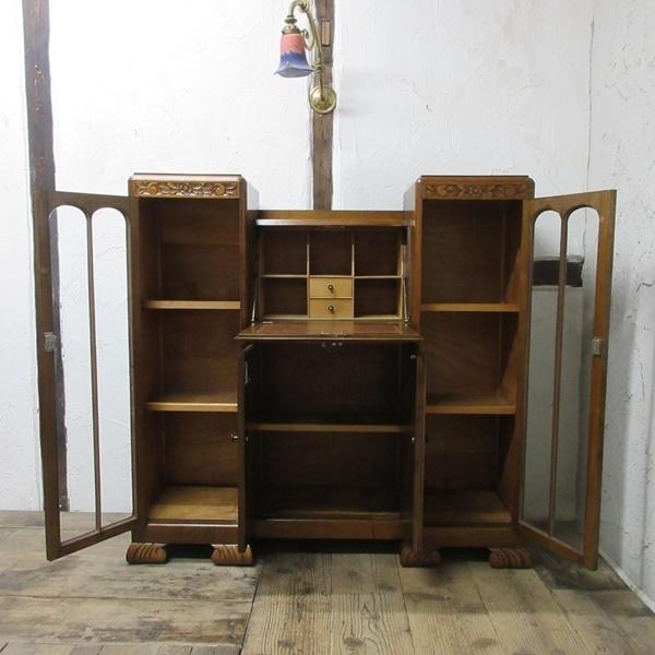 イギリス アンティーク 家具 CC41 サイドバイサイド ビューロー ディスプレイ 飾り棚 収納 木製 オーク 英国 BUREAU 6172c 新入荷_画像4