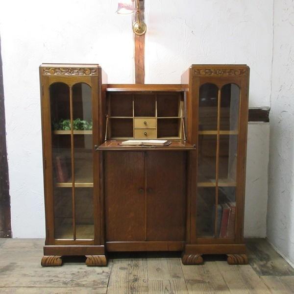 イギリス アンティーク 家具 CC41 サイドバイサイド ビューロー ディスプレイ 飾り棚 収納 木製 オーク 英国 BUREAU 6172c 新入荷_画像2