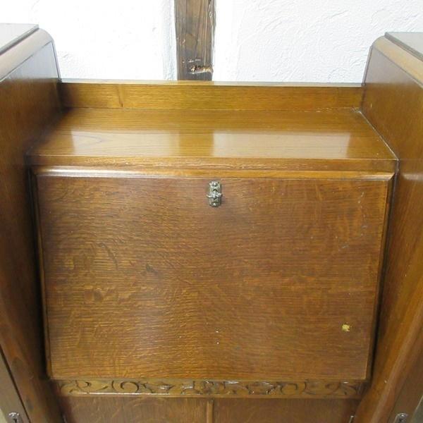 イギリス アンティーク 家具 CC41 サイドバイサイド ビューロー ディスプレイ 飾り棚 収納 木製 オーク 英国 BUREAU 6172c 新入荷_画像9
