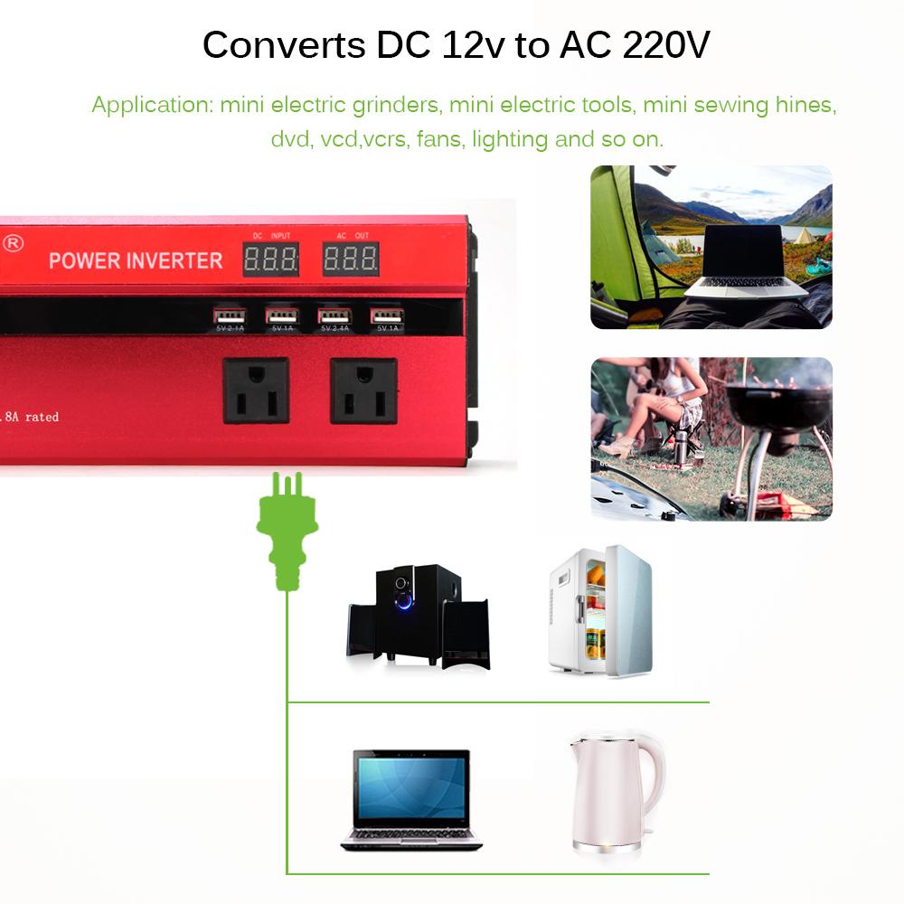 カーパワーインバーター 定格電力2000W 瞬間最大5000W 入力DC12V 出力AC110V 車載充電器 LED USB|1O_画像8