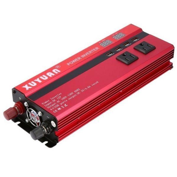 カーパワーインバーター 定格電力2000W 瞬間最大5000W 入力DC12V 出力AC110V 車載充電器 LED USB|1O_画像1