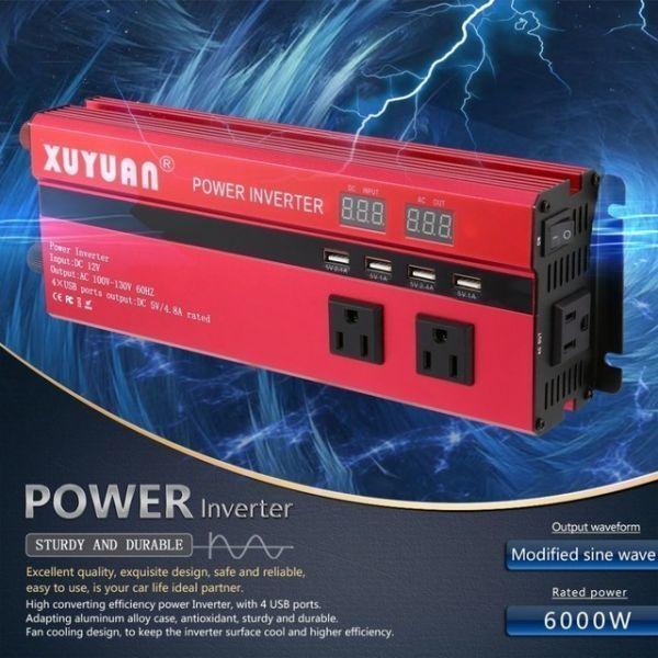 カーパワーインバーター 定格電力2000W 瞬間最大5000W 入力DC12V 出力AC110V 車載充電器 LED USB|1O_画像2