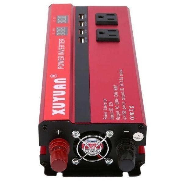 カーパワーインバーター 定格電力2000W 瞬間最大5000W 入力DC12V 出力AC110V 車載充電器 LED USB|1O_画像3