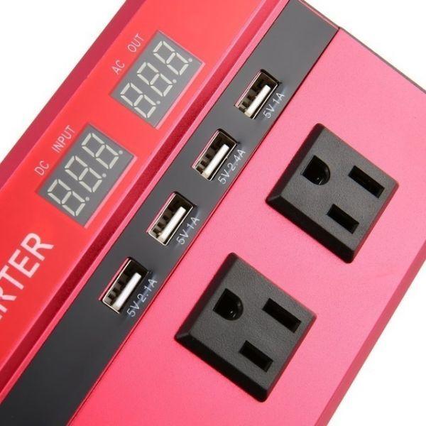 カーパワーインバーター 定格電力2000W 瞬間最大5000W 入力DC12V 出力AC110V 車載充電器 LED USB|1O_画像4