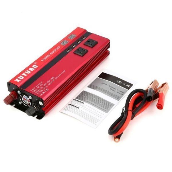 カーパワーインバーター 定格電力2000W 瞬間最大5000W 入力DC12V 出力AC110V 車載充電器 LED USB|1O_画像5