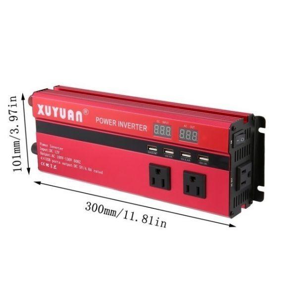 カーパワーインバーター 定格電力2000W 瞬間最大5000W 入力DC12V 出力AC110V 車載充電器 LED USB|1O_画像6