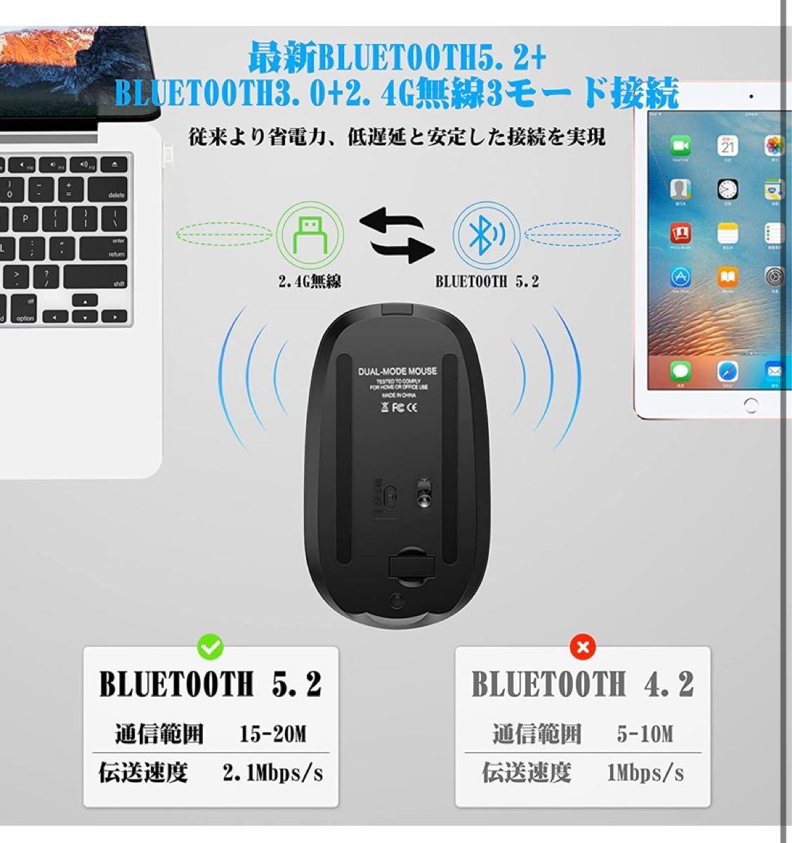 ワイヤレスマウス 充電式 Bluetooth マウス 薄型 静音 3DPIモー