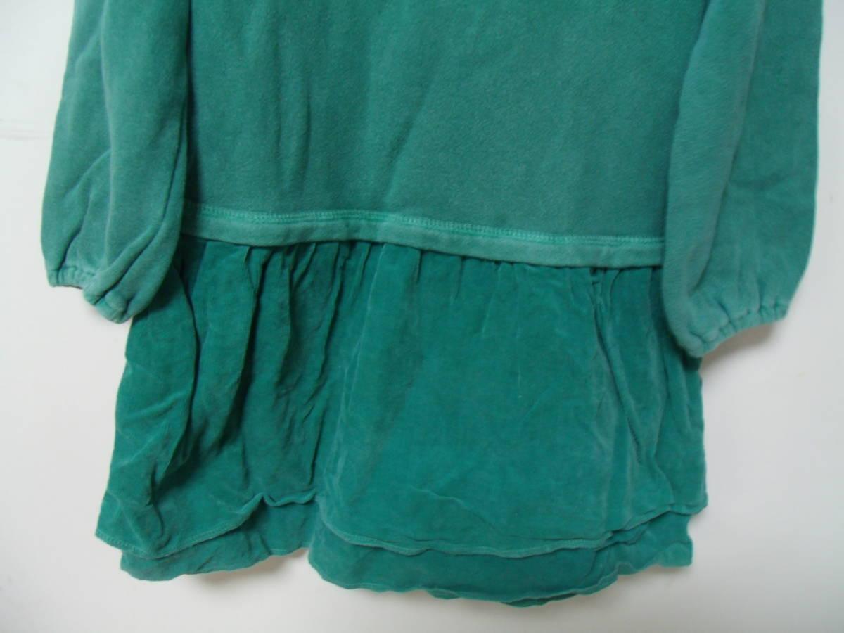 全国送料¥198 スワップミートマーケットSWAP MEET MARKETフィスFITH製 子供キッズ女の子緑色長袖スウェット&コーデュロイワンピース110_スカートはコーデュロイ素材です。
