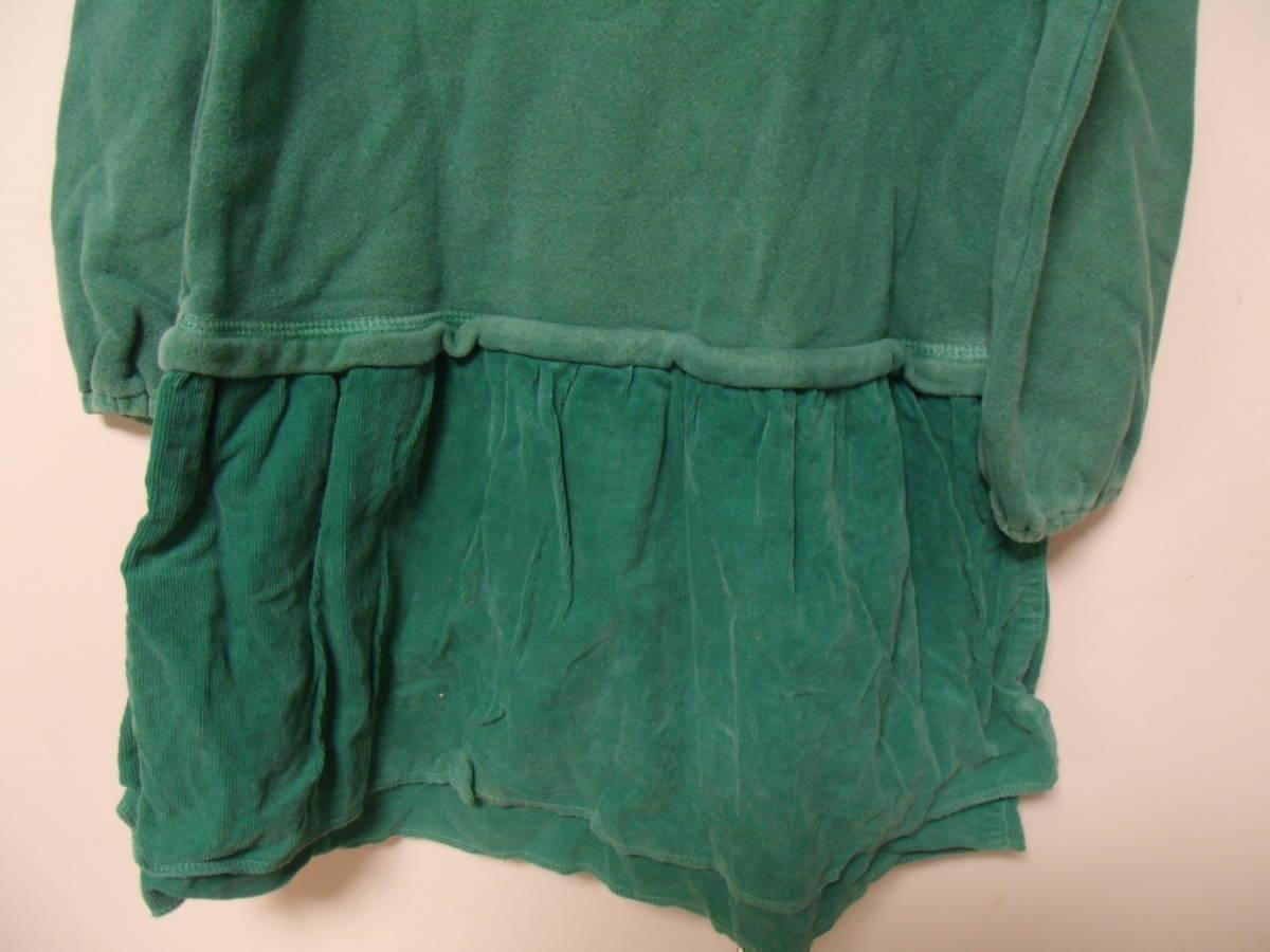 全国送料¥198 スワップミートマーケットSWAP MEET MARKETフィスFITH製 子供キッズ女の子緑色長袖スウェット&コーデュロイワンピース110_画像7